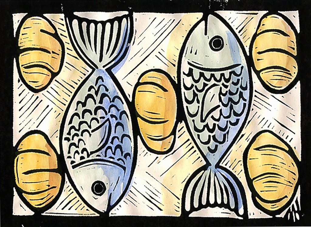 Free coloring pages of loaves of bread and fish for Loaves and fish